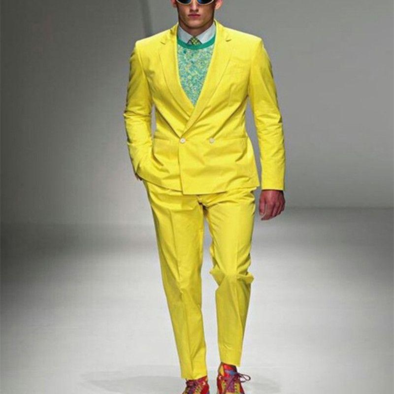 Double Breasted Suit 2017 Stylish Yellow Paris Fashion Show Suits Men's Formal Occasion Wear suit Party Men Tuxedos(Cost+Pants)