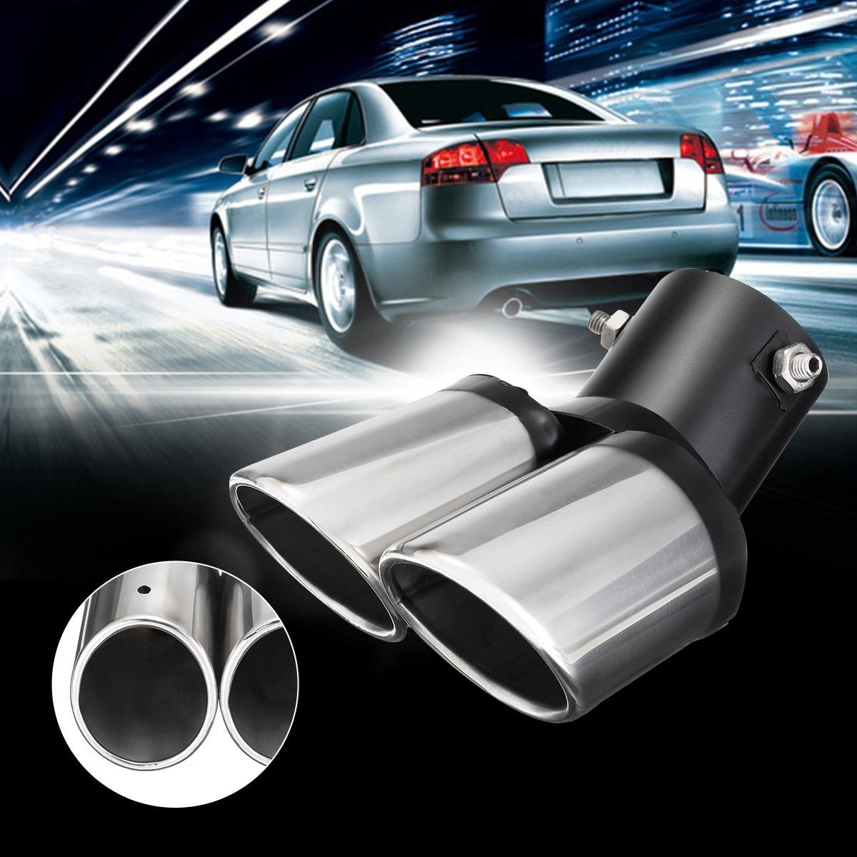 NEW Universal Curved Dual-outlet Exhaust Trim Tips Muffler Pipe Chrome Tail