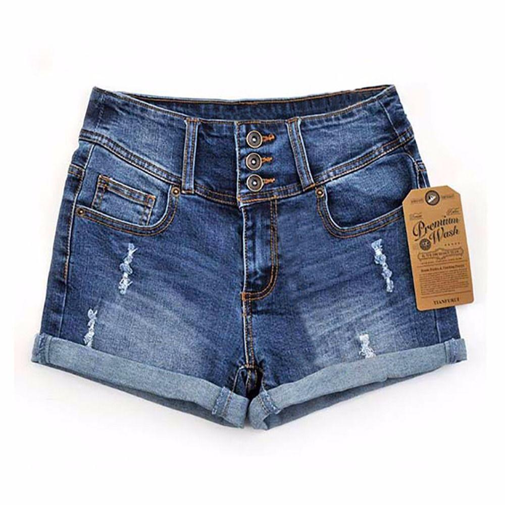 2017 Summer New Korean Women Thin Beaded Three-dimensional Hole <font><b>High</b></font> Waist Shorts Denim Shorts for Women Loose Plus Jeans Short