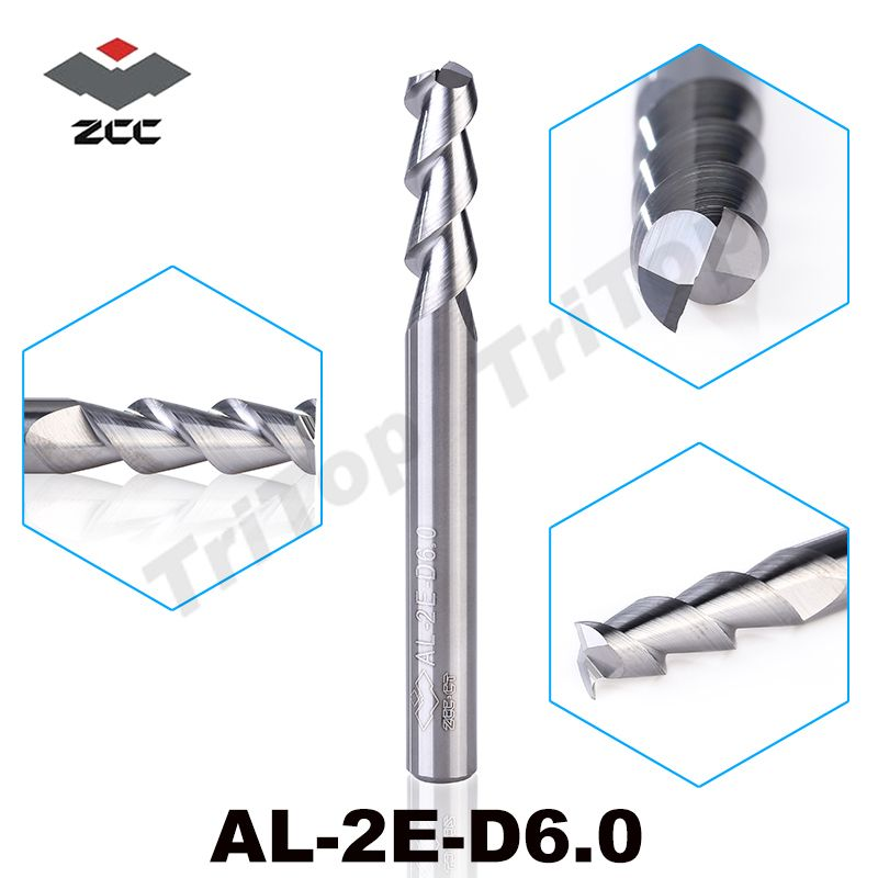 5 pcs/lot AL-2E-D6.0 ZCC. CT Fin mill 6mm à haut rendement d'usinage carbure monobloc non couché en aluminium fraise