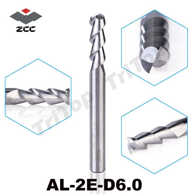 5 pcs/lot AL-2E-D6.0 ZCC. CT fraise en bout 6mm haute efficacité d'usinage fraise en aluminium non revêtue en carbure monobloc