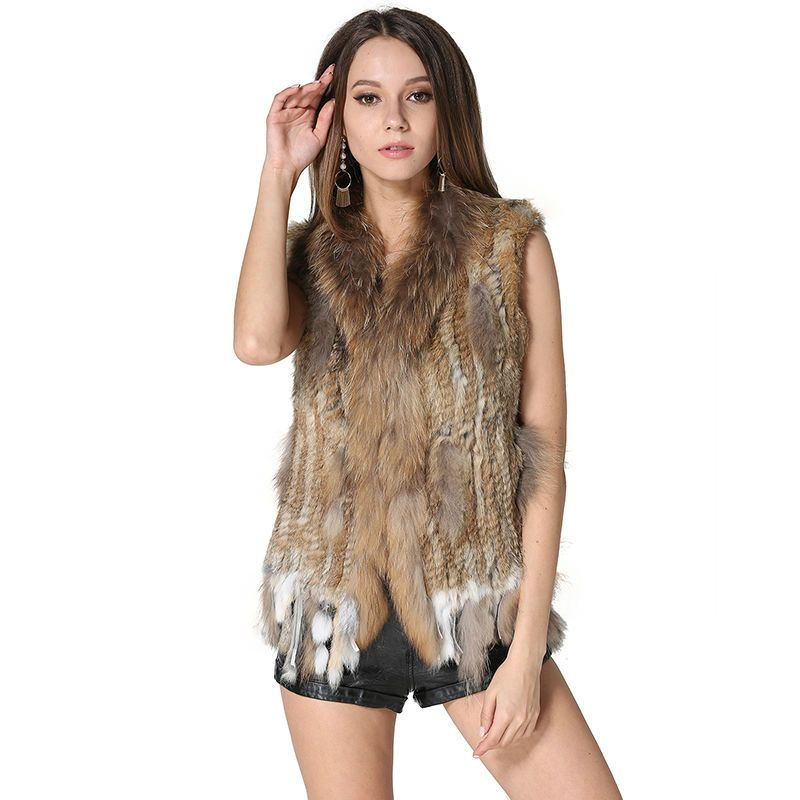 Hot Real Knitted Rabbit Fur Vest with Raccoon Fur Collar Women Gilet Fashion Spring/Autumn Waistcoat with Tassels AU00003