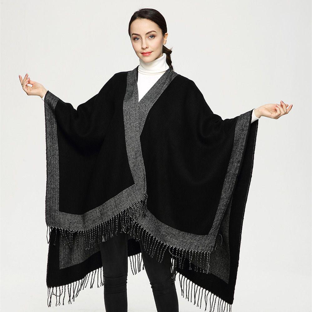 2017 Recién Llegado de Euro Fashion Negro Color Sólido de Las Mujeres Bufandas Gran Chal con Flecos Bufanda De Cachemira Poncho Duplex Cabo PJ010