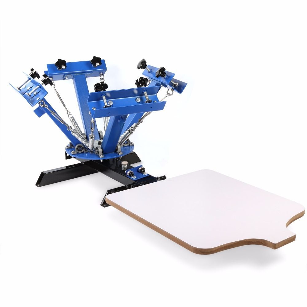 DIY T-shit printing 4 Color 1 Station Silk Screen Printing Machine combinatorial design with Adjustable double-spring
