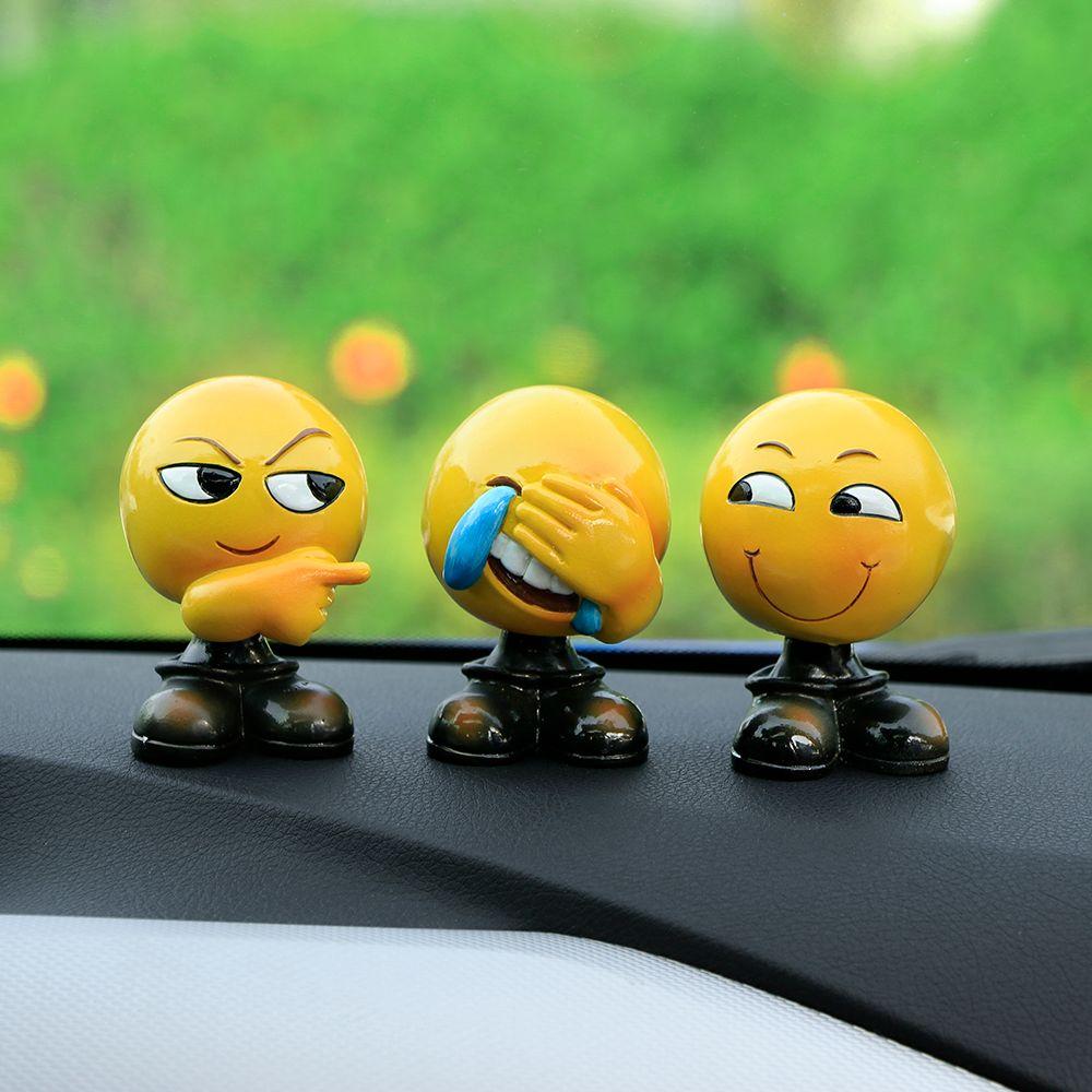 Creative Emoji Expression Dolls Ornaments Cute Shaking Head Emoji Figure Model Doll Automobile Decoration Ornaments Car Styling