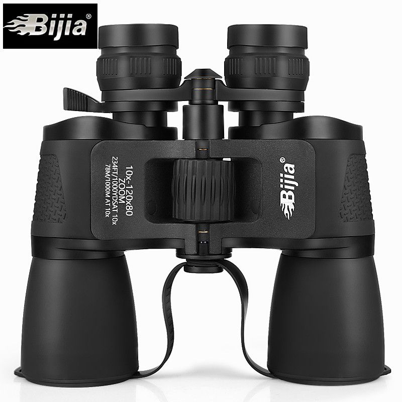 Bijia 10-120x80 Professional Binoculars HD Power Binocolos Flexible Focus Long Range Zoom Nitrogen Waterproof Telescope Hunting