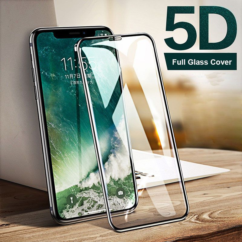 Tempered Glass Screen Protector For iPhone XS Max XS XR X 7 8 Plus 6 6S Plus 9H Toughed 5D Nano-coated Clear Full Cover Film