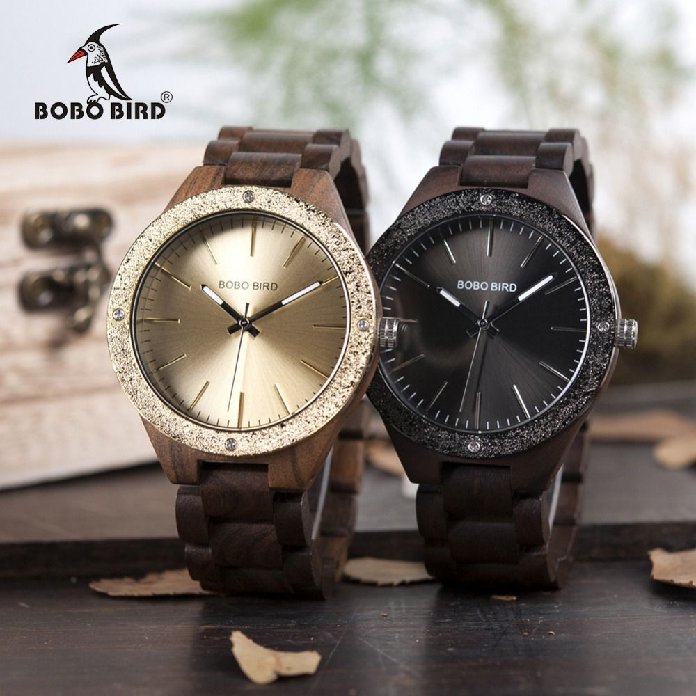 BOBO BIRD WP05 Mens Wood Watch Wooden Band Newest Brand Design Luxury Metal Face Quartz Watches in Wooden Box OEM