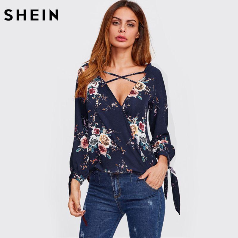 SHEIN Surplice Neckline Crisscross Tie Cuff Blouse Long Sleeve Woman Blouses <font><b>2017</b></font> Autumn Deep V Neck Floral Blouse