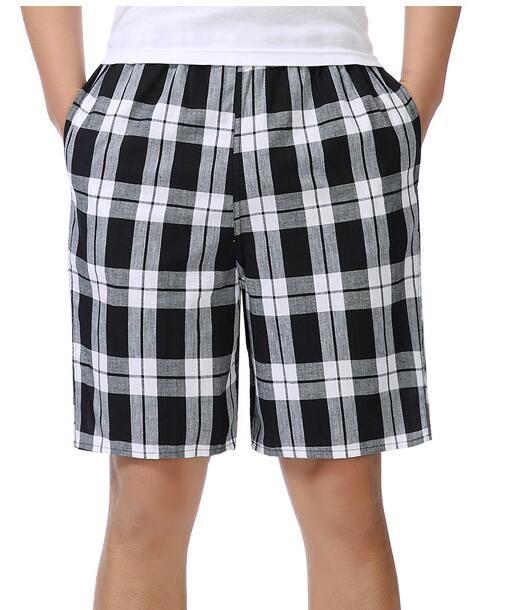 2018 summer cotton casual shorts men loose five points large size plaid shorts