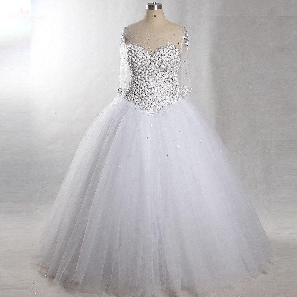 RSW432 Luxury Rhinestone Wedding Dresses Bling Bling Beaded Crystal Sheer Straps Sleeves White Bridal Gown