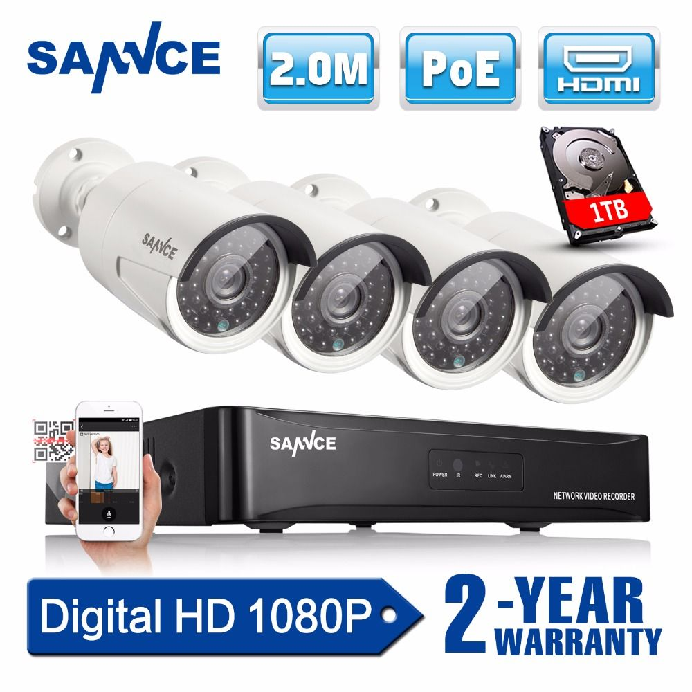 SANNCE 4CH 1080P Network POE NVR Kit CCTV Security System 2.0MP IP Camera Outdoor IR Night Surveillance Camera System 1TB HDD