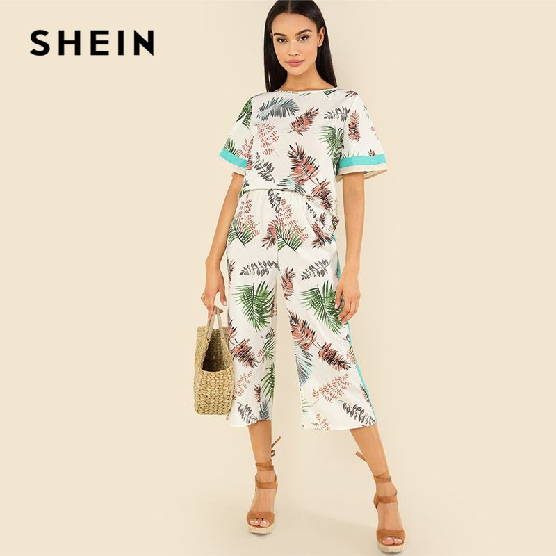 SHEIN Multicolor Vacation Bohemian Beach Contrast Tape Jungle Leaf Top And Wide Leg Pants Tropical Print Summer Women Twopiece