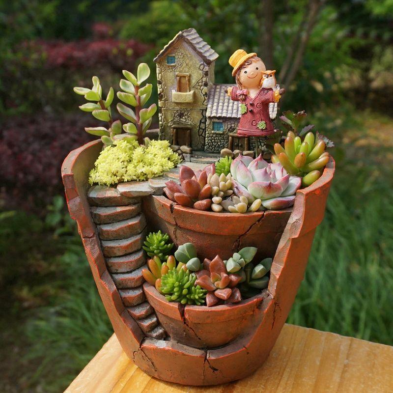 1pc Creative Resin Decorative Succulent Plant Pot for <font><b>Fairy</b></font> Garden Desktop Flower Pot Home Garden Decoration