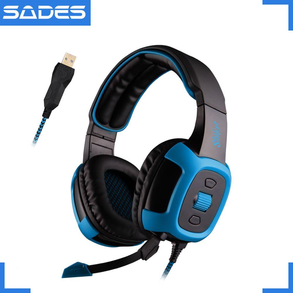 Sades шейкер Виртуальный 7.1 Surround Sound Headset вибрации Функция наушники USB Over-Ear Наушники для Gamer