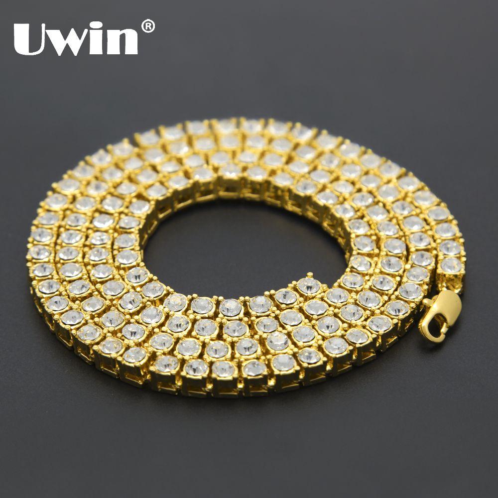 Uwin hommes Hip Hop Bling Bling glacé Out Tennis chaînes 1 rangée colliers de luxe marque argent/or couleur hommes chaîne bijoux de mode