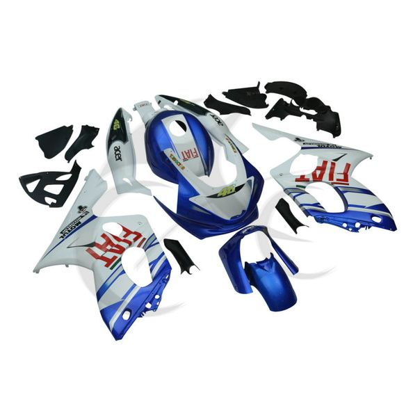 Blau Weiß Hand made Karosserie ABS Verkleidung Set Für Yamaha YZF600 YZF600R 97-07