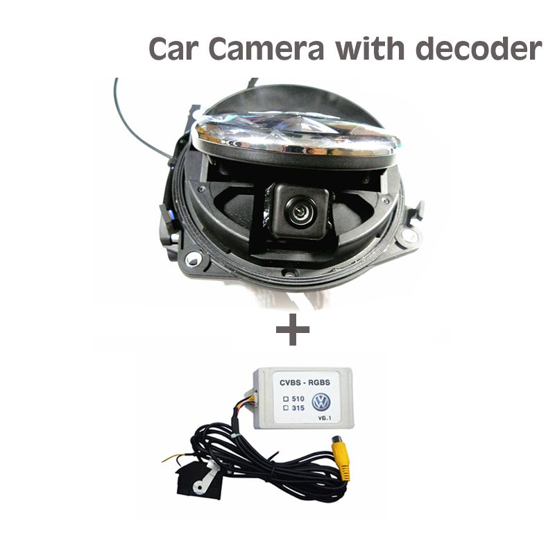 Free shipping For Golf 6 MK6 Passat CC B7 Magotan Beetle Flipping Rearview camera +Decoder For VW Badge Logo Camera RGB RCA port