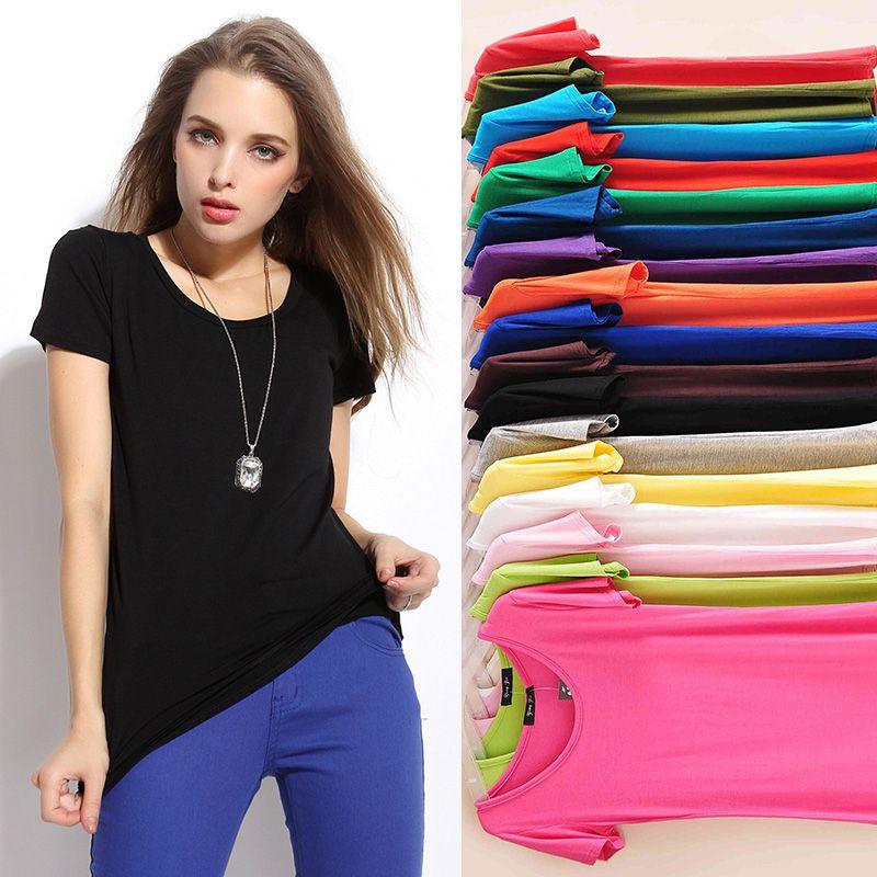 Bonbons couleurs new summer 2018 femmes décontracté chemise basique modal t chemises de coton femmes à manches courtes hauts et t-shirts o-cou