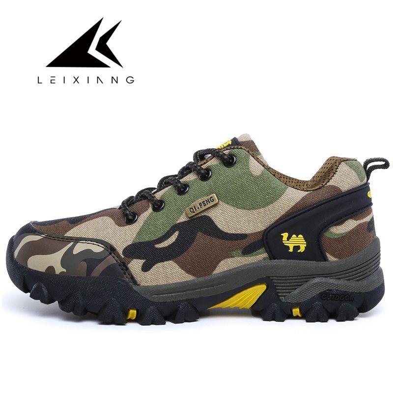 LEIXIANG New Outdoor Camouflage Sneakers Men Tactical Hiking Shoes Anti-slip Comfortable Cheap Climbing Shoe Erkek Spor Ayakkabi