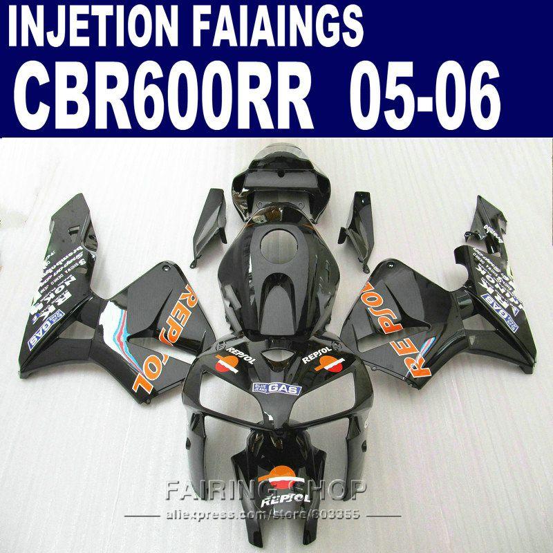 decal REPSOL Fairings For Honda CBR 600 RR 2006 2005 (black orange ) cbr600rr 05 06 Injection Abs Fairing kit l83