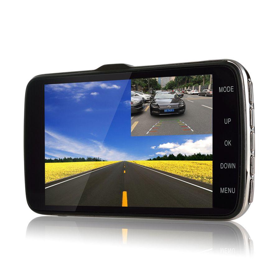 Udricare 4 inch Car Truck Vehicle DVR Full HD 1080P Dual Lens Dash Cam ADAS LDWS Distance Warning Rear View Camera Parking DVR