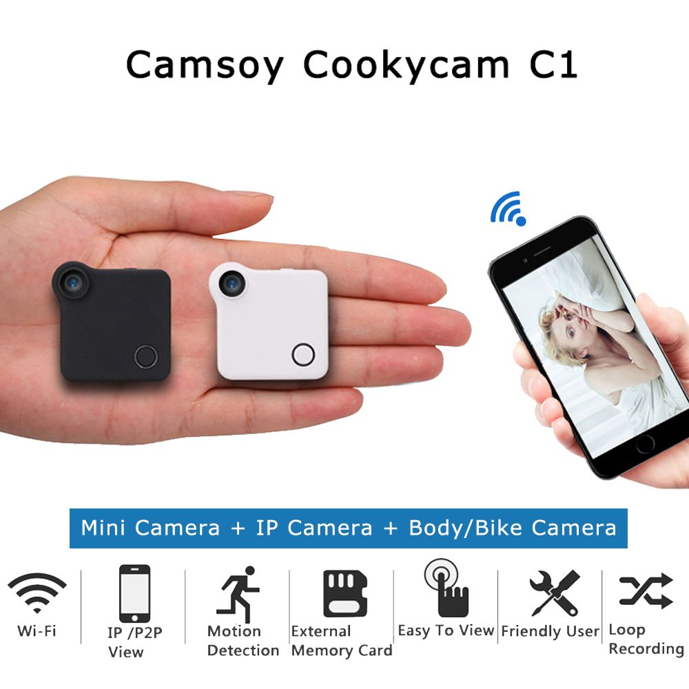 C1 mini cámara HD 720 p C1 WiFi P2P Cámara Wearable IP sensor de movimiento bicicleta Cuerpo micro mini DV dvr magnetic clip grabadora de voz