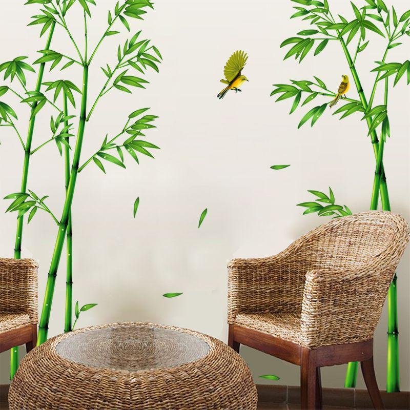 [SHIJUEHEZI] vert bambou forêt Stickers muraux bricolage PVC plante Stickers muraux pour salon chambre armoire décoration de la maison