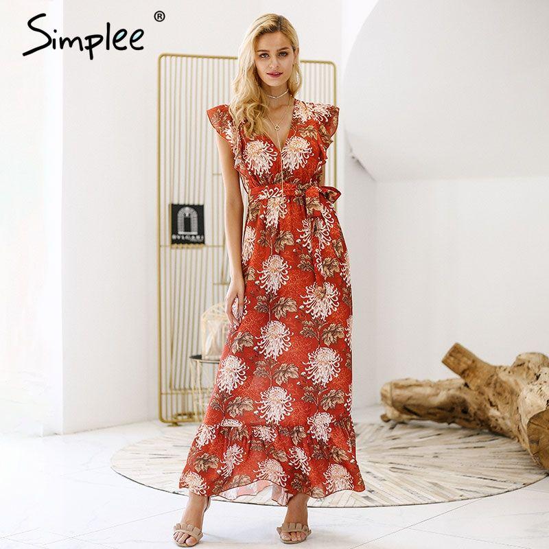 Simplee V neck ruffle boho summer dress women Hollow out sash tie up long dress 2018 Sleeveless beach maxi dress casual vestidos