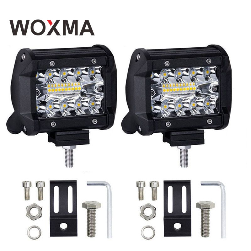 WOXMA LED Work Light 4 inch Combo Light Bar 60W Offroad 4x4 Led 12V <font><b>Spotlight</b></font> Flood Driving Work Light for SUV Truck Boat ATV