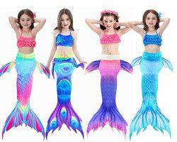 Лидер продаж! 3 шт./компл./комплект, детский купальный костюм русалки для девочек, купальный костюм с хвостом русалки, летнее платье для плава...