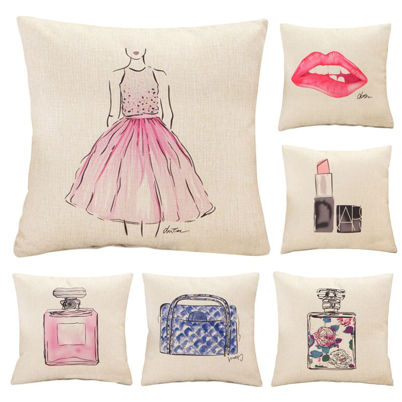 Mode rouge lèvres coussin sans intérieure rouge à lèvres bouteille de parfum maison canapé décoratif oreiller de voiture siège capa de almofada cojines
