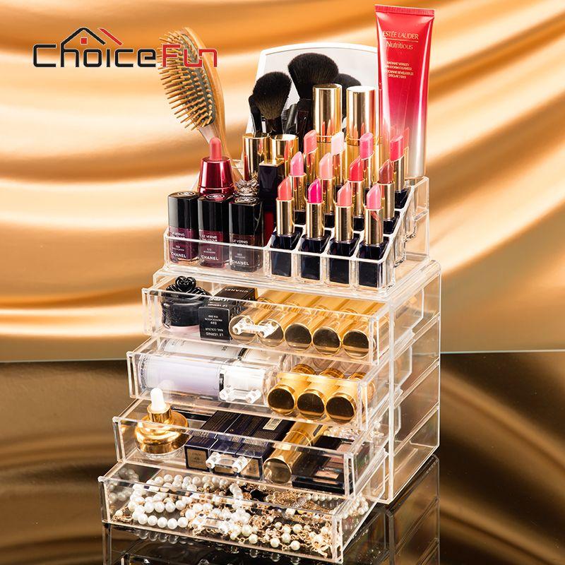 CHOIX AMUSANT 4 Tiroirs Big Clear Rouge À Lèvres Boîte De Rangement Acrylique Transparent Acrylique Maquillage Cosmétique Maquillage Organisateur Avec Miroir
