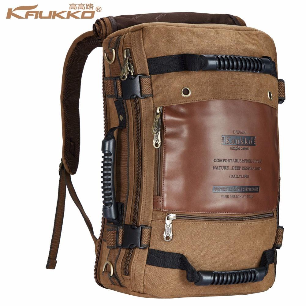 Kaukko Men backpack Canvas Huge Travel School Shoulder Computer Backpacking Functional Versatile Bags Multifunctional Laptop Bag