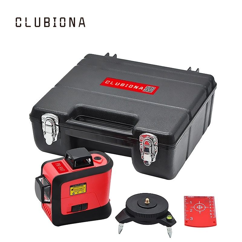 CLUBIONA 3D 360 rotary 12 cross level Laser lines with tilt slash function, vertical & horizontal Super Powerful receiver OK