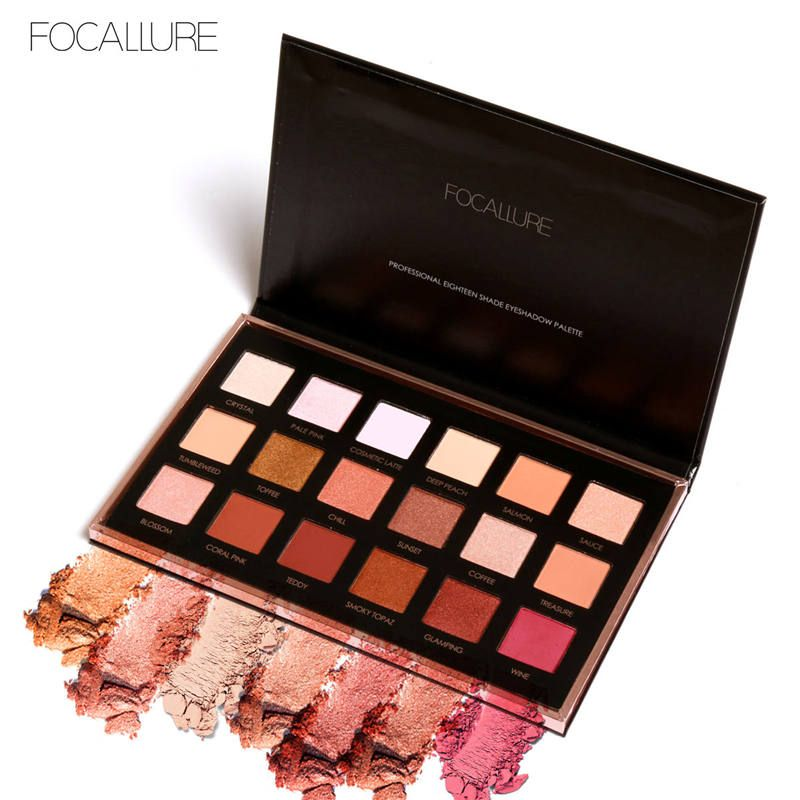 FOCALLURE 18Colors Eyeshadow Makeup Shimmer Matte Pigment Eye Shadow Cosmetics Mineral Nude Glitter Eye Palette of Shades