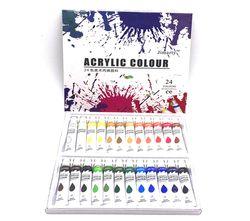 24 Couleurs 12 ML/Tube Acrylique Peintures set mur peinture couleur Art Peinture tissu Dessin ensemble (pas de peinture brosse palette)