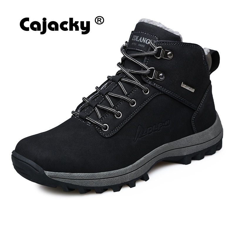 Cajacky Men Snow Boots Big Size 39-46 Genuine Leather Men Winter Boots Warm Plush Fur Work Shoes Handmade Ankle Martin Boots 10