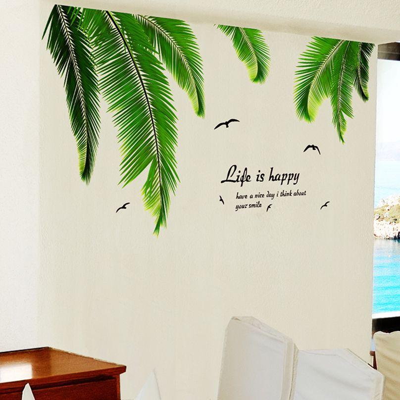 [SHIJUEHEZI] Feuilles de Palmier Mur Autocollant Vinyle DIY Hawaii Tropical Raphia Meubles Murale Autocollant pour Salon Stickers Muraux