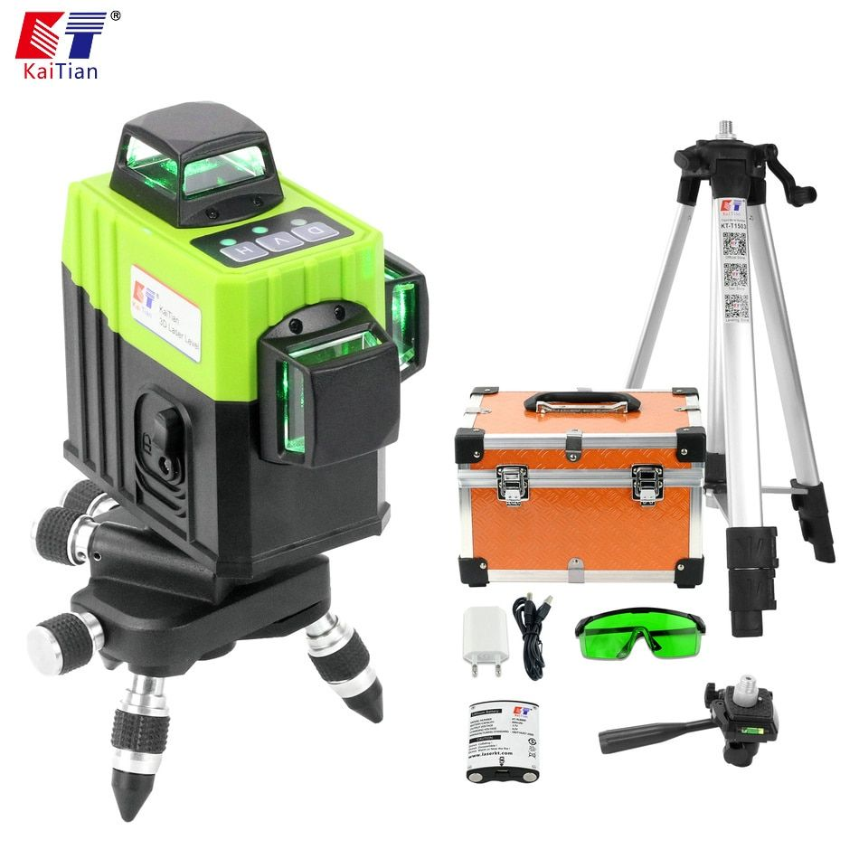 Kaitian 3D Nivel Laser Level 360 12 Lines Green Tripod for Level Rotary Vertical Horizontal Lazer Measuring Construction Tools