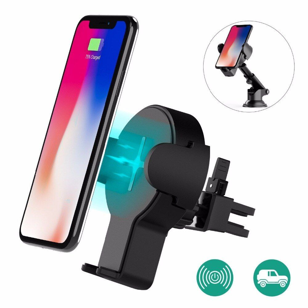 Wofalo Fast Wireless Car Charger Retractable Wireless Car Charging Phone Bracket 360 Rotation For Samsung S8/S8 Plus/S7/S7 Edge