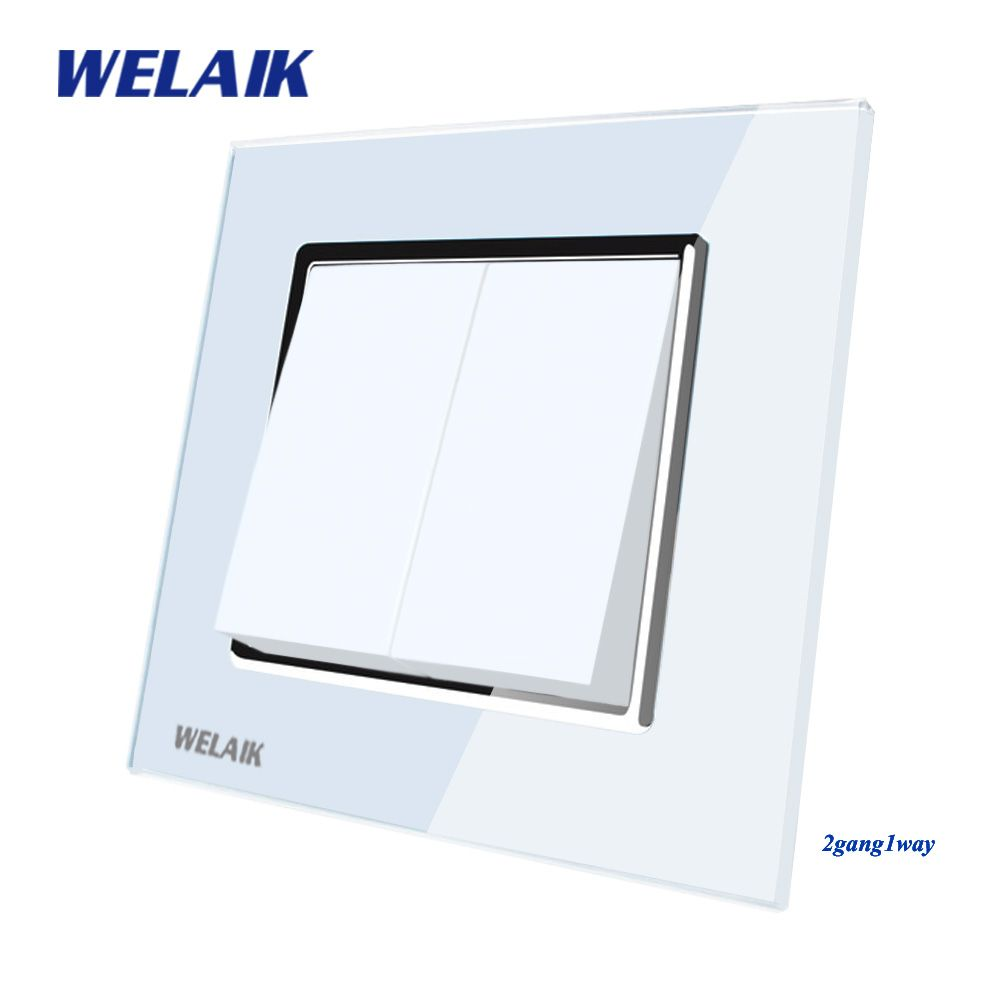 WELAIK Push Button Switch Manufacturer of Wall Light Switch Black White Crystal Glass Panel AC 110-250V 2Gang 1Way A1721W/B