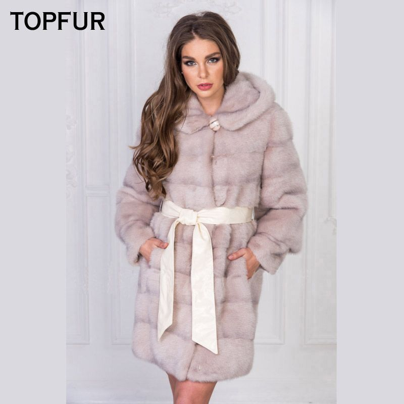TOPFUR 2018 New Arrival Fashion Real Mink Fur Coats for Women With Fur Hood Pink Color Natural Long Mink Fur Winter Jacket Hot