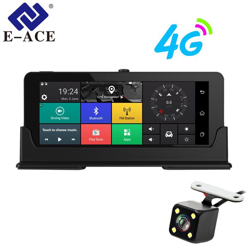 E-ACE Car Dvrs 7 Inch 4G Android Dash Cameras Dual Lens GPS Navigator ADAS Full HD 1080P Dash Cam Auto Video Registrar Recorde