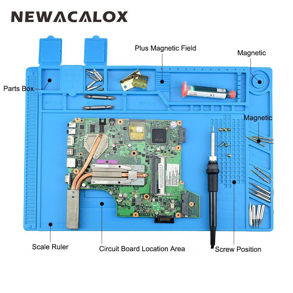 NEWACALOX 45x30cm Heat Gun BGA Soldering Station Insulation Silicone Pad Maintenance Platform Desk Mat Soldering Repair Tool