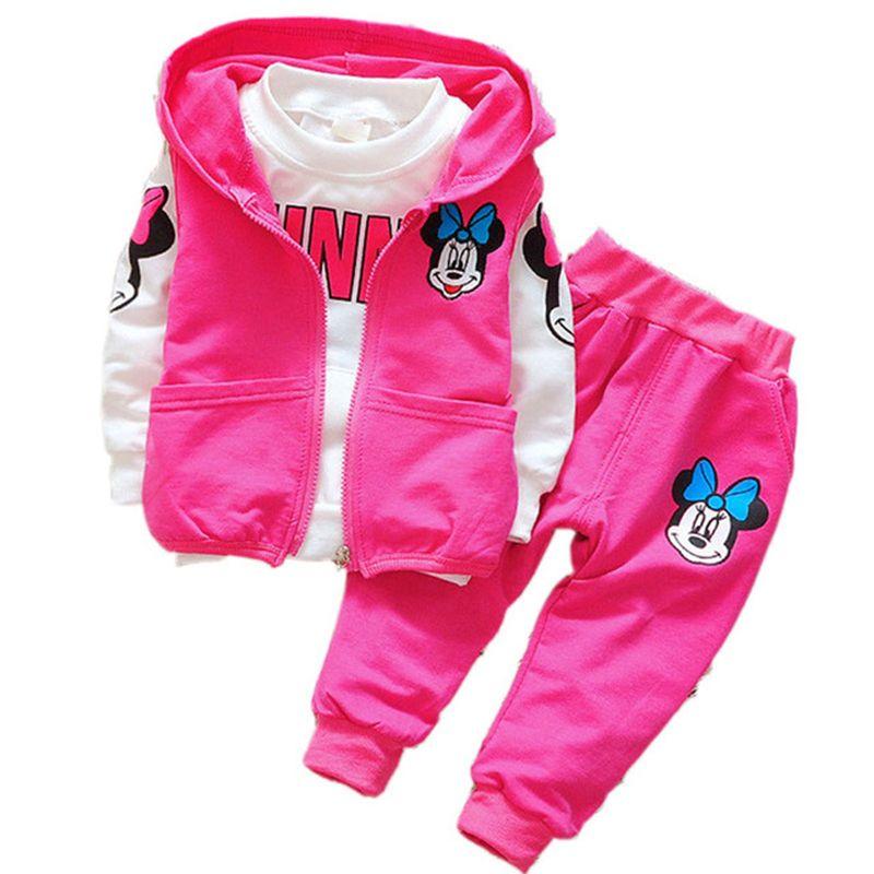 Automne garçons Minnie Mickey Cartoon filles bambin vêtements costumes enfants enfants t-shirts pantalons à capuche veste Sport ensembles bébé vêtements