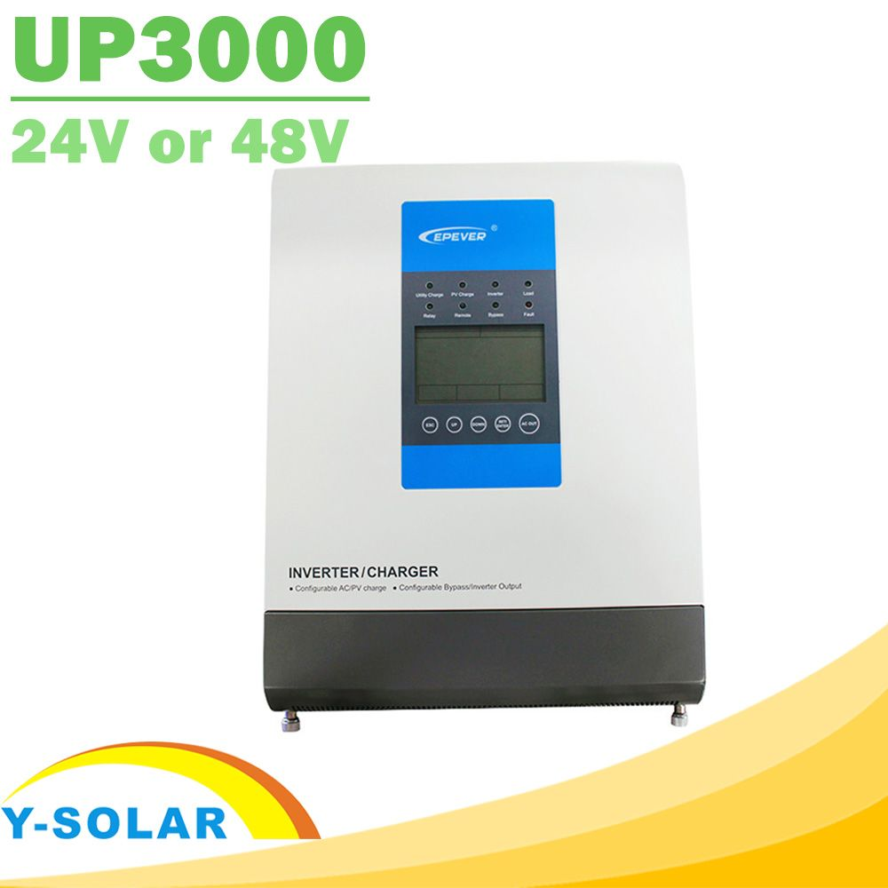 EPever UPower Series Inverter Charger for 24V or 48V Battery Pure Sine Wave Off Grid Tie Inverter and MPPT 30A 20A Solar Charger