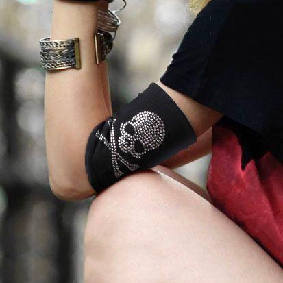 2015 summer style women lady arm sleeve sexy cotton luxury quality unisex lover Arm sleeve Warmers skulls Rhinestone for men