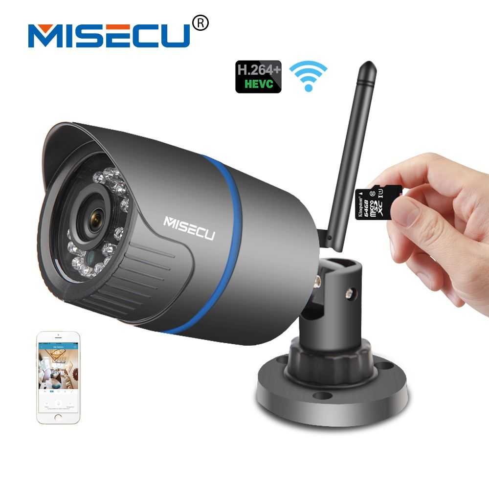 MISECU H.264+Wifi camera Audio <font><b>built</b></font> SD card 2.8mm Wifi 1280*720P P2P ONVIF Wireless email alert Night vision IR Outdoor CCTV