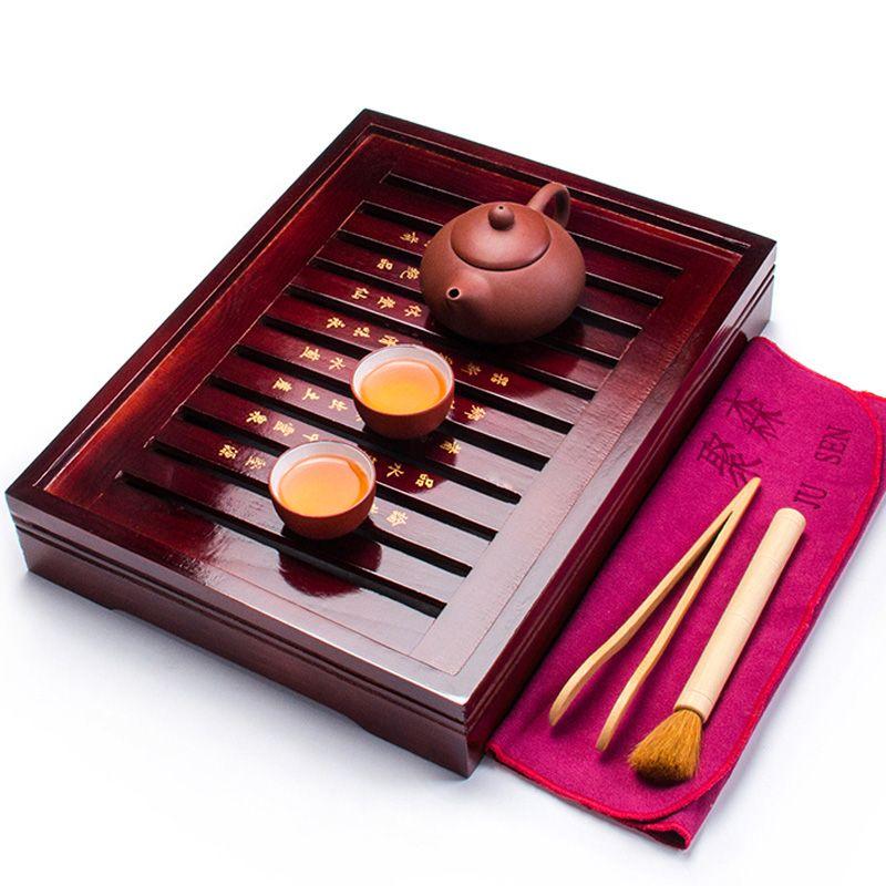 Chino Conjuntos de Taza de Té De Madera Bandeja de Té y Tetera de Arcilla Púrpura y 2 Tazas de Té Taza de Té de Cerámica Herramientas Ceremonia Del Té China de Kung Fu A031